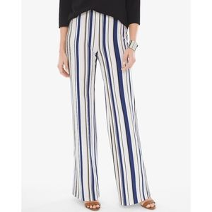Chico's - Ponte Wide - Leg Striped Trousers